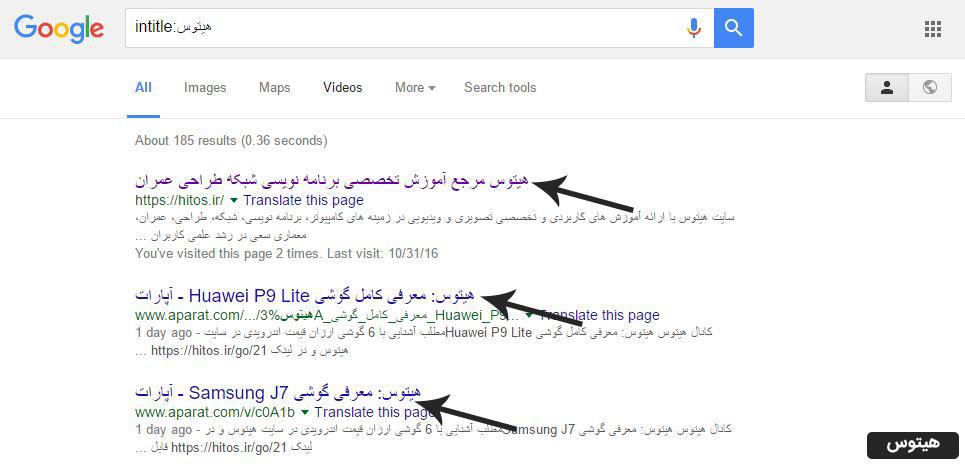 دورک intitle برای هک گوگل