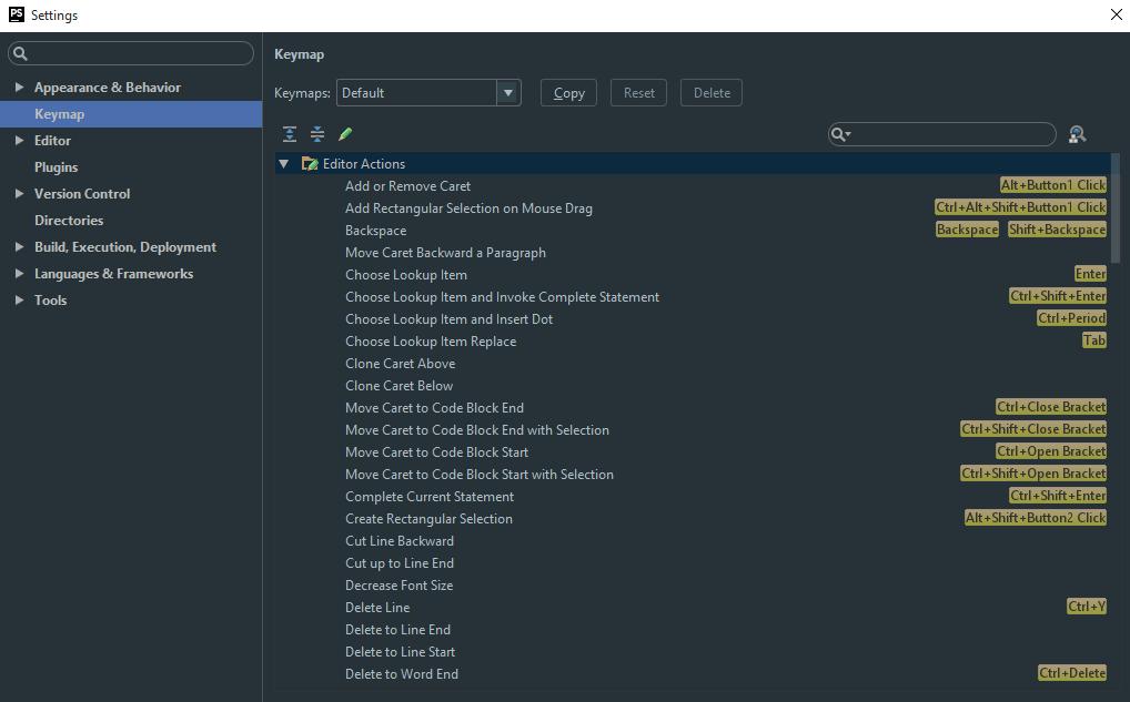 ویرایش کلیدهای میانبر phpstorm