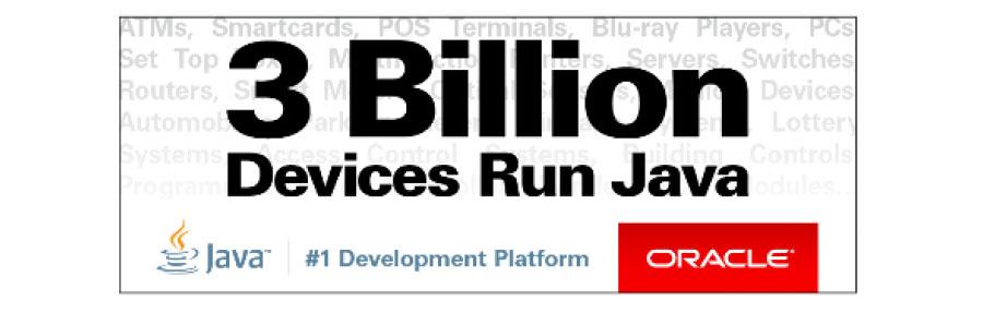 جاوا روی 3 بیلیون سه میلیارد دستگاه در جهان کار میکند